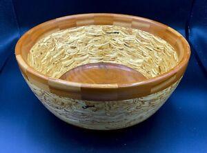 2004-Segmented-Handmade-Hand-Turned-Large-Salad-or-Fruit-Wood-Bowl-10-034-X-4-034