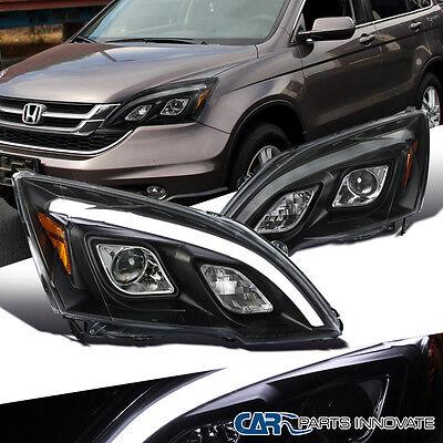 For 07-11 Honda CR-V CRV Clear Projector Headlights LED DRL Lamps Black Pair