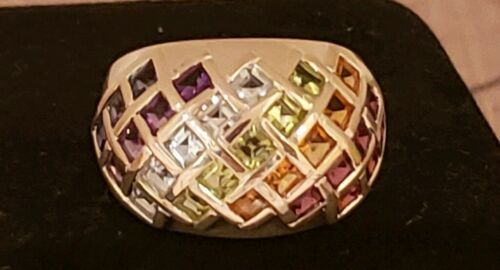 Sterling Silver Bold MultiGemstone Domed Band Ring, 2.2 Cttw, Size 5