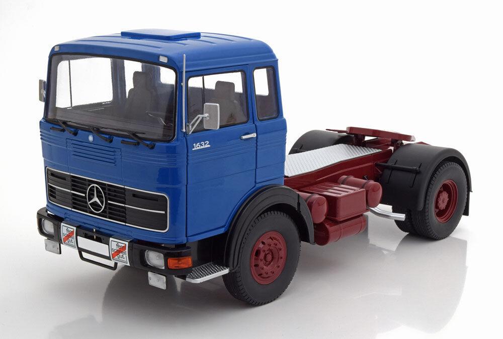 Route Rois 1969 Mercedes Lps 1632 Bleu Noir   Foncé Rouge 1 18 Echelle