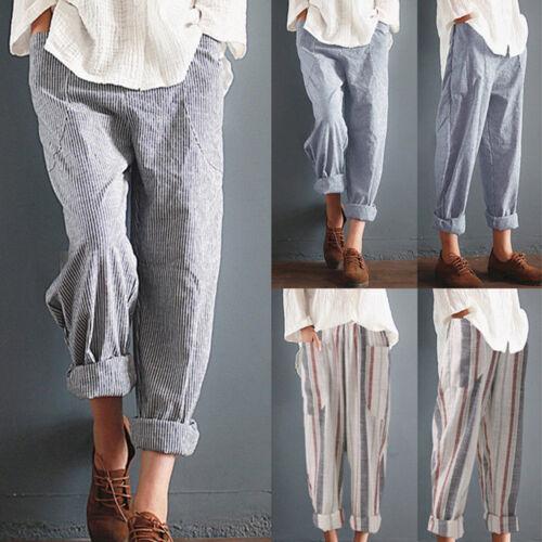 Women/'s Cotton Linen Elastic Waist Vintage Pants Trousers Casual Harem Striped
