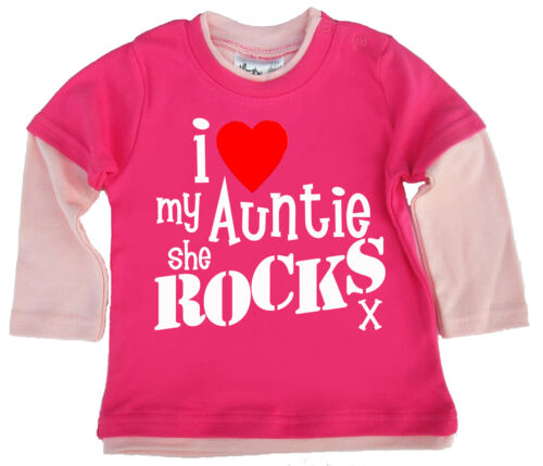 "Baby Skater Top /"" I Love My Auntie She Rocks /"" Nichte Neffe Tante"