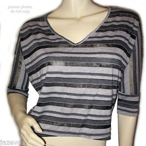 Runes-Womens-V-Neck-Sheer-Top-Shirt-Blouse-S-1-2-Sleeve-Striped-Black-Gray-Grey