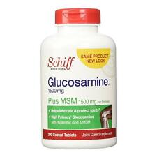 Schiff Glucosamine Plus MSM 1500 mg 200 Tablets HELPS LUBRICATE + PROTECT JOINTS