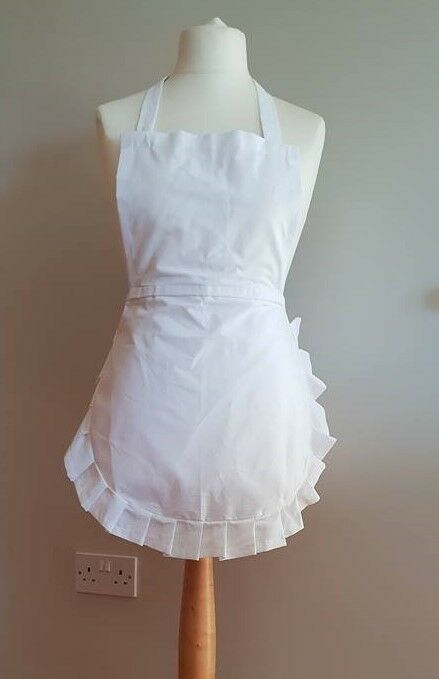Alice in Wonder 50's Full apron white cotton & cotton frill, Junior adult Xlarge