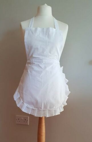 Junior adult Xlarge Alice in Wonder 50/'s Full apron white cotton /& cotton frill