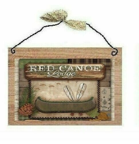 Rustic Wildlife Pictures Moose Bear Canoe Fish Lodge Cabin Wall Hangings Plaques