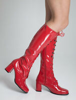 Knee High Red Boots - Fashion Eyelet Boots - Size 8 Uk - Red Patent