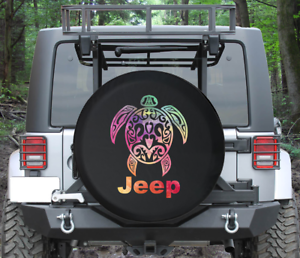 Spare Tire Cover Watercolor Sea Turtle Tribal Wrangler RV