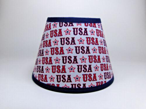 Americana USA Stars Stripes Star Red Navy White  Fabric Lampshade Lamp Shade