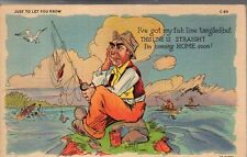 1940 Line comics postcard - Curt Teich - Fishing line is tangled in Staples MN