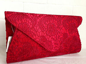 73d634423bb NEW CREAM IVORY LACE EVENING CLUTCH BAG NUDE NAVY BLUE BLACK RED ...