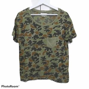 Denim & Supply Raulph Lauren Womens sz Medium Green Camo Short Sleeve Tee Shirt