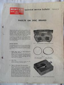 MINTEX FAULTS ON DISC BRAKES TECHNICAL SERVICE BULLETIN MANUAL 1965 RILEY JAGUAR