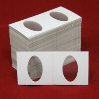 100 Cardboard 2x2 Coin Holder Mylar Flips For Elongated Coins