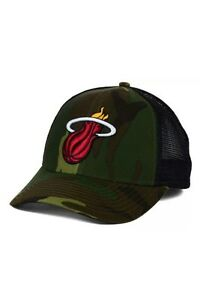 505a14b9fd162 Miami Heat Adidas NBA Camo And Black Trucker Snapback Hat Sun ...