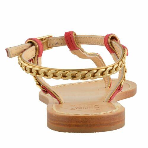 """Emanuela Caruso /""""Capri/"""" Women/'s Golden Chain Flat Sandals Shoes Size 6 7 8 9 11"""