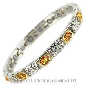 NEUF-femmes-Bracelet-magnetique-Joli-Ambre-cristaux-Boite-Cadeau-gratuit-sante