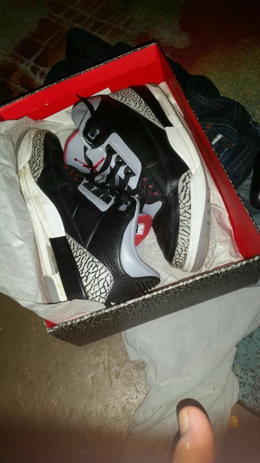 Nike Air Jordan III 3 Black Cement 2008 Schuhgrösse 46 wie neu