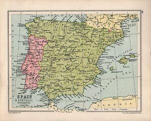 Cartina Spagna Isole Baleari.1934 Mappa Spagna E Portogallo Castiglia Murcia Isole Baleari Ebay