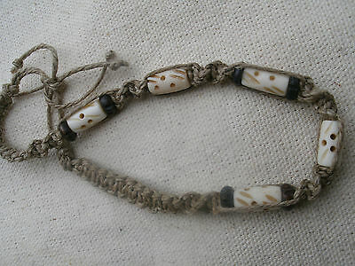 Handmade Hemp Bracelet With Carved Bone Beads Tie On Anklet Tribal Style Ebay