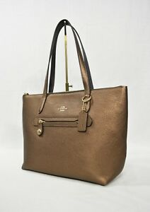 a160fa7609b NWT Coach 23592 Mettalic Leather Taylor Tote in Bronze. Handbag ...