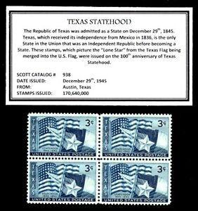 1945-TEXAS-Mint-Never-Hinged-Block-of-Four-Vintage-U-S-Postage-Stamps