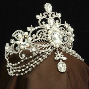 Vintage-Wedding-Bridal-Crystal-Pearl-Headband-Queen-Crown-Tiara-Hair-Accessories
