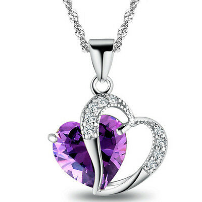 Unique Style 925 Silver plated CZ 2 Heart Lady 's Necklace Pendant Stone kaixi