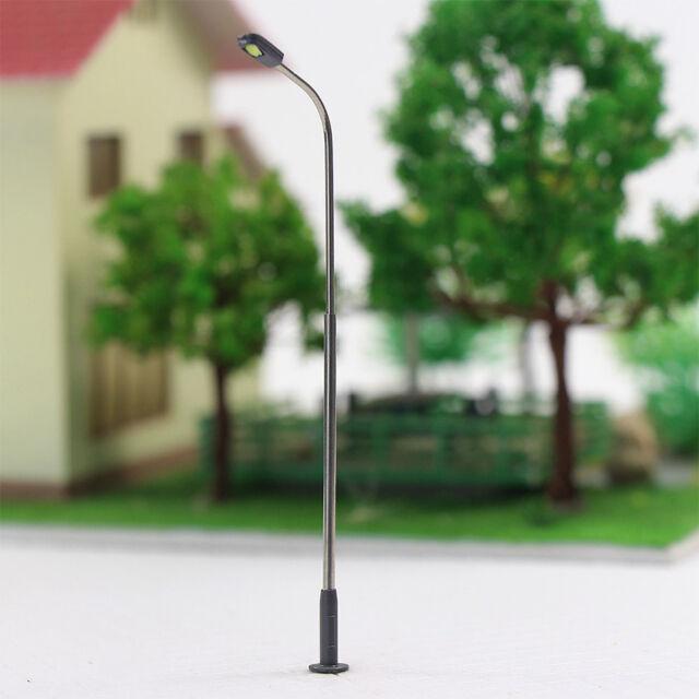 LQS08 10pcs Model Railway Train Lamp Post Street Bright White Lights HO OO Scale LEDs NEW