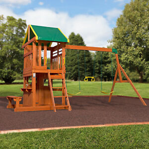 Kids Swing Set Wood Play House Slide Playground Playset Backyard
