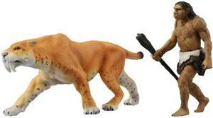 TAKARA TOMY Ania Animal AL-10 Saber Tiger (with Neanderthal man) ANI-836582 NEW