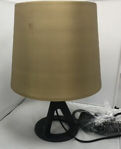 Tom-Dixon-Cast-Iron-Stand-Table-Lamp-Brushed-Brass-Fingerprint-On-Shade-B
