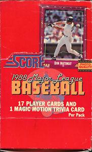 Details About Score Major League Baseball Cards Factory Box 1988