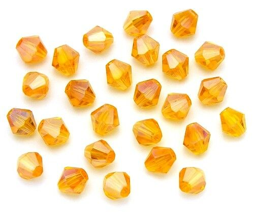 25 Bicone rodé perles environ 6 mm TOPAZ AB