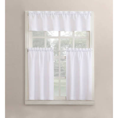 Modern Classic White 3 Piece Kitchen Curtains Set Valance Tiers Cafe Curtains 751637991260 Ebay