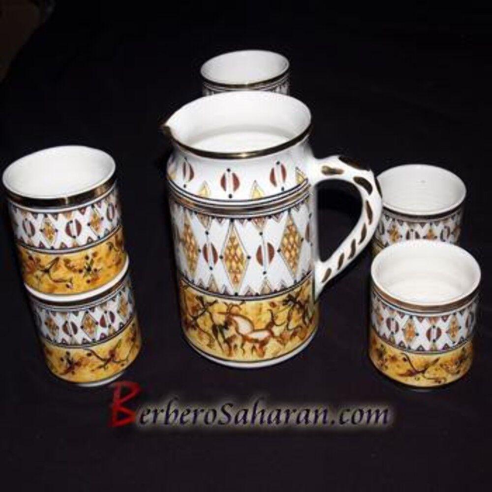 Handmade Algerian Berber water set in blanc ceramic & or  2