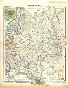 Cartina Geografica Russia Ucraina.Carta Geografica Antica Russia Europea Ucraina Mosca 1939 Old Antique Map Ebay