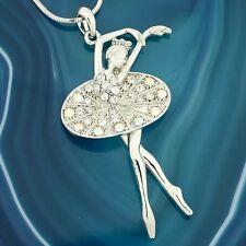 Ballet Dancer W Swarovski Crystal Ballerina Girls Charm Pendant Chain Necklace