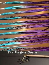 Feather Hair Extensions KIT Lot 10 Grizzly  long Real Tie Dye Ombre Blue KIT