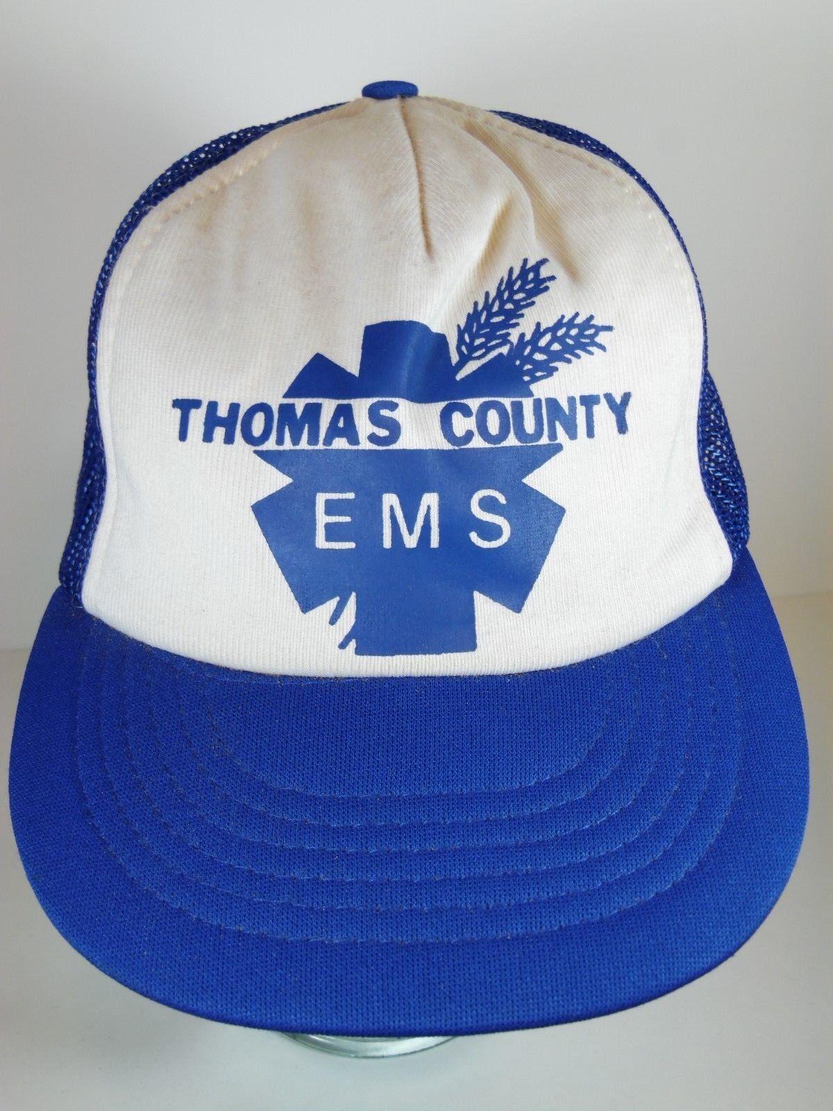 Vintage 1980s THOMAS COUNTY EMS Ambulance Advertising SNAPBACK HAT TRUCKER CAP