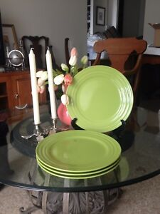 Image is loading Set-of-4-RACHEL-RAY-Double-Ridge-Apple- & Set of 4 RACHEL RAY Double Ridge Apple Green Dinner Plates 11\