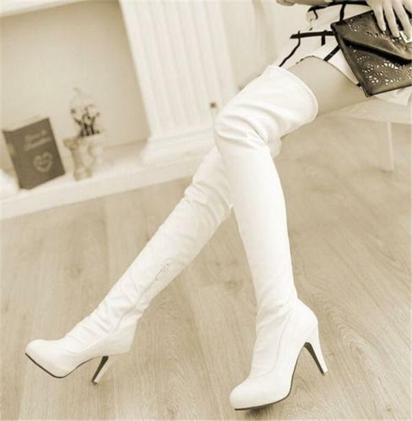 Fashion women's cuffed high heel stilettos sexy over the knee Thigh High Boots