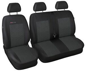 Seat Covers ECO Leather BLACK-BLACK Volkswagen VW Transporter T5 T6 2+1