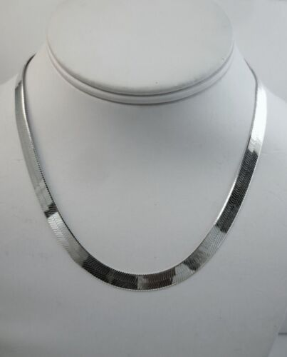 environ 76.20 cm 16 To 30 in Herringbone Collier 3.5 mm pour 16 mm Argent Sterling .925 Italie