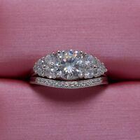 Fashion Diamonique Cz 925 Sterling Silver Engagement Wedding Ring Set Size 5-10