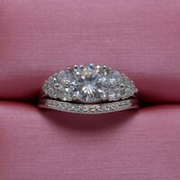 Fashion Diamonique Cz 925 Sterling Silver Engagement Wedding Ring Set Size 5-10