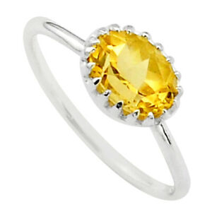 2.08cts Solitaire Natural Yellow Citrine 925 Sterling Silver Ring Size 6 T40930