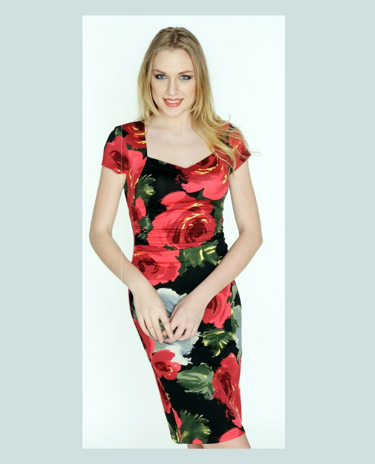 PARTY DRESS SHORT SLEEVES Farbeful Summer Wedding Stretch Bodycon Made In Europe