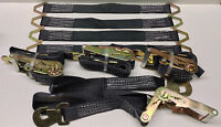 4 Axle Straps Car Hauler Trailer Auto Tie Down 4 Ratchet Straps Tow Kit Black